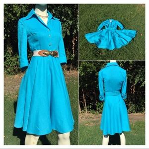 1950's Turquoise Blue Fit & Flare Dress